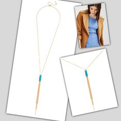 """NWT Turquoise Colored Sedona Lariat Necklace New on card and in plastic from Baublebar. Gold tone metal. Lobster clasp. Length 27"""" with 7.25"""" drop and 3"""" extension. Pendant made of resin. This listing is for the turquoise color pendant. Smoke free home. Baublebar Jewelry Necklaces"""