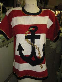 Vintage Nautical Anchor Sweater.  WhiteRed by StuartsHollywoodColl, $28.00