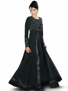 Abaya, Hijab, Muslim Dress, Jilbab, Islamic Clothing  A fabulous designer Abaya with beautiful handwork embroidery, featuring black sequin lace in front and bottom, a perfect party wear Dress   Party wear Abaya with round neckline  Front slit with lace detailing  Bead hand embroidery in front  Straight sleeves with matching embroidery