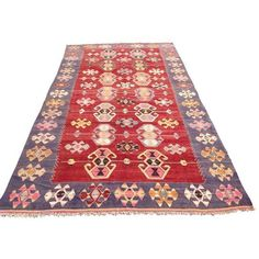 Vintage Turkish Kilim Rug - 6′1″ × 11′1″ ($1,750) ❤ liked on Polyvore featuring home, rugs, traditional handmade rugs, hand made rugs, wool area rugs, handmade wool area rugs, hand woven wool rugs and kilim area rugs