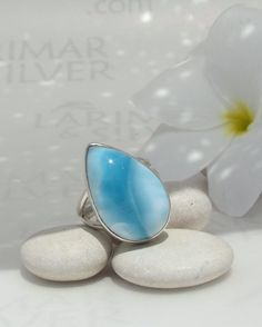 Larimar ring, Bright Summer - vibrant azure Larimar pear, blue stone ring, sky blue ring, silver ring, pectolite, handmade ring - size 8