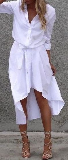 Her outfit is so on point. White shirt dress and laced up heels