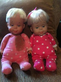 """""""Mama, I'm sleepy.""""  """"Mama, I want a drink of water.""""  LOL Anyone ever have a Drowsy Doll?!  I remember mine fondly!  Here pictured is one circa late 60's/early 70's, the other is mid/late 90's. My friend took this picture of her Drowsy that she saved all these years from when she was little girl.  The newer model is the one she bought for her own daughter when her daughter was little."""
