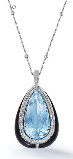 An aquamarine, diamond and onyx pendant, by Margherita Burgener. The centre pear-shaped aquamarine, weighing approximately 72.95 carats, set within a chamfered two-row circular-cut diamond bezel, to a tapered onyx surround, similarly cut diamond line highlight and tapered pavé-set diamond bail, suspended from a spectacle-set diamond chain of adjustable length, length of pendant 7 cm, total length of chain 78 cm.