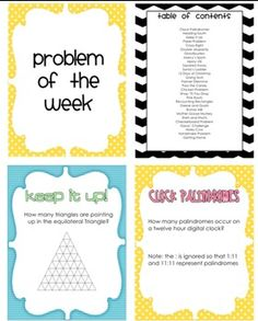 Challenging weekly word problems for the math classroom. 4th-7th grades
