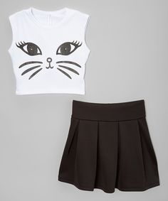 Take a look at this American Kids Black & White Cat Crop Top & Pleated Skirt - Toddler & Girls today! Cute Outfits For Kids, Cute Summer Outfits, Cute Casual Outfits, Outfits For Teens, Girl Outfits, Tween Fashion, Girls Fashion Clothes, Little Girl Fashion, Fashion Outfits