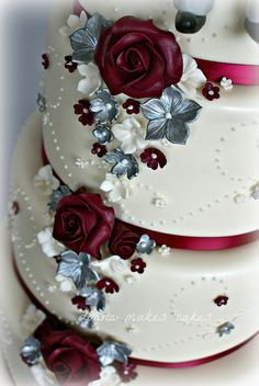 Cranberry and Silver wedding cake | Flickr - Photo Sharing! Perhaps chocolate instead of silver?
