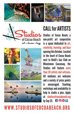 Apply by Sep 25 to part of SoCB's first group of artists. Apply anytime to be juried for open spots or special shows. www.studiosofcocoabeach.org #cocoabeach, #gallery, #artist, #florida, #painting, #mainstreet, #minutemen, #downtown
