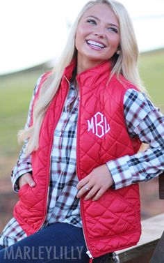 Pair your favorite plaid with a Monogrammed Puffy Vest for a fall favorite #OOTD ❤️