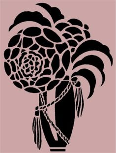 Art Deco Flower Vase Stencil 10x7.5 Inches - #Stencil - #Asian - #Baskets