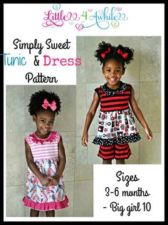 Girls Simply Sweet Tunic & Dress PDF Sewing Pattern by Little 4 Awhile