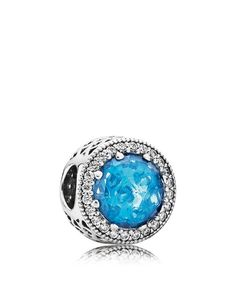 Pandora Charm - Sterling Silver, Cubic Zirconia & Crystal Sky Blue Radiant Hearts, Moments Collection
