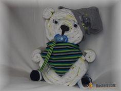Windelbärchen, Diaper Bear, Diaper Cake, Baby Shower, Babyshower, Windeltorte, Windelfigur, Windeltier, Geburtsgeschenk