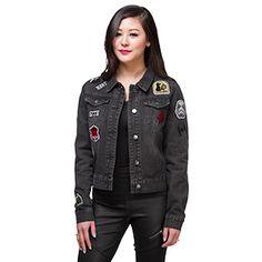 This Dark Side Patch Ladies' Denim Jacket is black like your soul, presumably, since you chose the Dark Side. And also like your soul it's been patched up.
