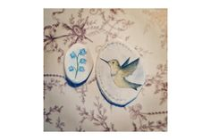 This is a handmade and painted set of clay brooches. They are meant to be worn together as a hummingbird drinking nectar from a flower but of course can be w. Paint Set, Hummingbird, Clay, Brooch, Birds, Pretty, Artwork, Flowers, Handmade