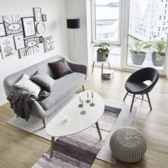 Scandinavian living for less. Create an open and bright living room with the right combination of furniture and decor.