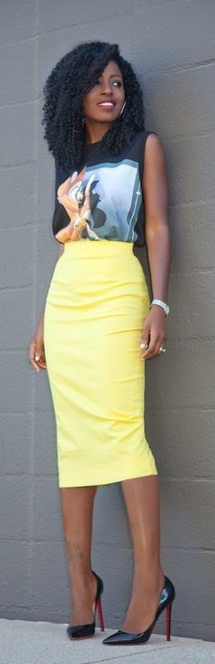 Bambi Print Tee + Yellow Pencil Skirt / Fashion By Style Pantry