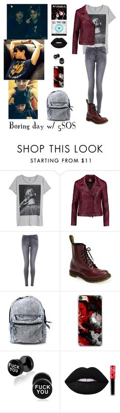 """""""Boring Day with 5SOS"""" by justkittyfanggyg ❤ liked on Polyvore featuring Haute Hippie, Dr. Martens, Casetify and Lime Crime"""