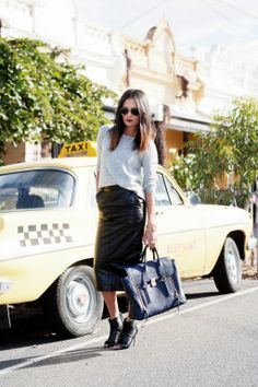 Great midi leather skirt