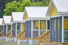 Situated on both waterfront and interior lots, these fully furnished cottages sleep seven in the two-bedroom, one-bath layout, which also features a fold-out double sofa in the living room, a fully stocked kitchen (including dishes), and screened-in porch and patio.