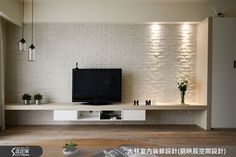 Resultado de imagem para tv console with feature wall Open Plan Kitchen Living Room, Living Room Tv, Living Room Interior, Built In Shelves Living Room, Hotel Room Design, Living Room Inspiration, Modern Interior Design, Living Room Designs, Family Room