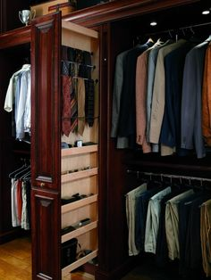 Love this man's closet with pull out for ties/accessories.