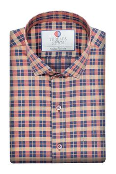 Peach Windowpane - ₹2,800/-  This shirt is crafted in luxury Italian fabric milled from (Monti Tessitura) by the thread count of 2 ply by 120. #Business #Casual #Shirt #Shirts #Corporate #Fabrics #Luxury#Handcrafted #Custommade #Fashion #Style #Custom #Checks #Solids #Pastels #Checkered #Fun#Quirky #Men #Women #MenFashion #WomenFashion