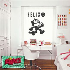 #adesivo #parede #decoração #gato #felix #desenho