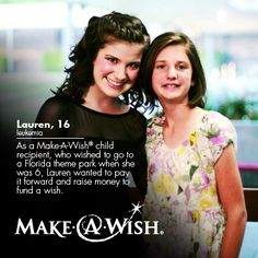 Six-year-old Lauren, who had leukemia, wished to go to a Florida theme park. Now, at 16, she organized a charity event night to fund a wish for Hannah, an 11-year-old brain tumor patient - http://ht.ly/gd5SG