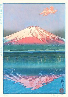 Paul Binnie (Scottish, b. 1967, Airthrey Castle, Scotland) - Aka Fuji (Red Fuji), 2002  Japanese Woodblock Print