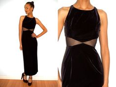 Vtg Body Con Sheer Cut Out Velour Black Maxi by LuluTresors, $54.99