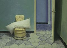 The Green Room, 2011, oil on board by Spanish painter Golucho,