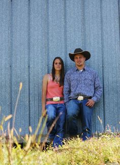 Rustic country cowboy engagement photo