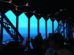 Looking out on the Eiffel Tower in Le Jules Vern Restaurant, Paris