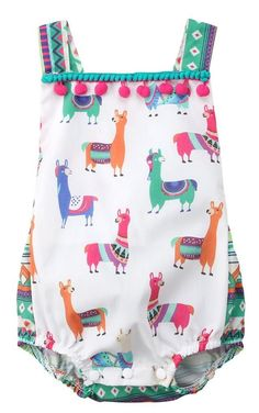 Colorful Llama Baby Girl Summer Romper