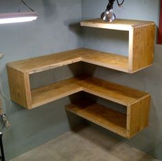 Corner Shelving, very cool, would be easy to make, plus add hooks to the side for extra storage