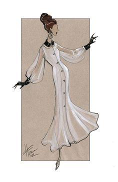 Fashion Illustration - White dress with black cuff & collar Art Print (scheduled via http://www.tailwindapp.com?utm_source=pinterest&utm_medium=twpin&utm_content=post18131946&utm_campaign=scheduler_attribution)