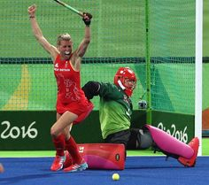 Great win for Great Britain:     Alex Danson of Great Britain celebrates after scoring their second goal during the women's group B hockey match between Great Britain and the USA. Great Britain won 2-1.