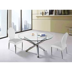 The Cannes Dining Chair has a classic contemporary style that blends well in any modern dining space. Constructed from polished stainless steel, the tapered legs accent the white leatherette upholstery. $189.00