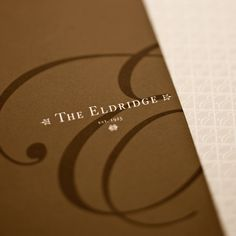 The Eldridge Hotel by robert sitek, via Behance Graphic Design Branding, Identity Design, Brochure Design, Logo Design, Hotel Brochure, Restaurant Branding, Design Reference, Signage, Photo Art