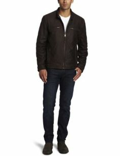 Marc New York by Andrew Marc Men's Blade Rugged Buffalo Nubuck Leather Moto Jacket, Dark Brown, Large