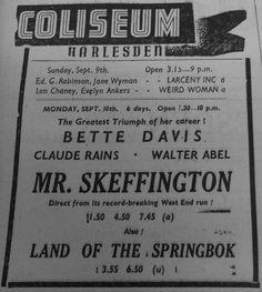 Old Advert - Coliseum. Manor Park Road  Harlesden NW10