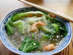 Vermicelli zuppa ricetta Pak Choi e gamberi, zuppa di vermicelli cuoco Pak Choi e gamberetti