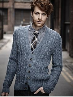 Knit Inspiration: Martin Storey. Knit this mens herringbone stitch cardigan from Designer Knits. A design by Martin Storey using the beautif...