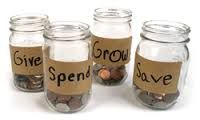 The 4 Part Piggy Bank- Spend, Save, Grow, and Give.Teaching Your Kids to be Financially Responsible Saving Tips, Saving Money, Money Jars, Become A Millionaire, Ms Gs, Money Matters, Money Management, Teaching Kids, Student Teaching