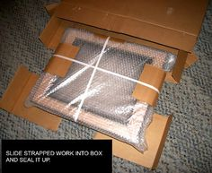 How to safely & securely package your art for shipping. SHIPPING ART slide in and seal Small Art, Large Art, Halloween Care Packages, Ship Paintings, Diy Gift Box, Marca Personal, Cricut Creations, Craft Business, Ship Art