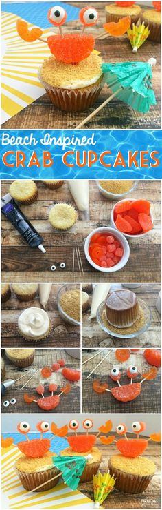 Summer Crab Beach Cupcake on Frugal Coupon Living, hosting a a beach party? This crab beach cupcake is perfect for an end of the year party, special out-of-school celebration and more. A beach inspired recipe!