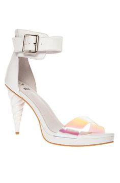 8f07d2e53de8 size 8 Jeffrey Campbell Pegasus Sandals in White Iridescent Leather with  Unicorn Heel · DiscoQueen ·   Storenvy