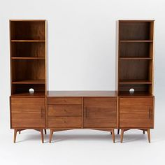 Mid Century Media Without Wide Hutch, Acorn (1 small console, 2 door bases, 2 narrow hutches)