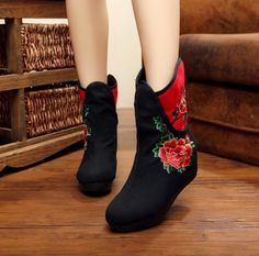 $15-YRZB Women's Embroidery Canvas Boots | Upper Material: Canvas Outsole Material: TPR Heel height: 3-5 cm Color: Black, Red #boot #canvasboot #omgnb